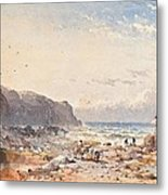 A Breezy Day With Fisherfolk On The Foreshore Metal Print