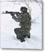 A Bulgarian Soldier Aims Down The Sight Metal Print