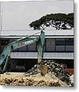 A Bulldozer Moving Dug Out Concrete And Fresh Earth Below The Concrete Metal Print