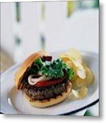 A Burger With Potato Chips Metal Print