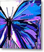 A Butterfly So Blue Metal Print