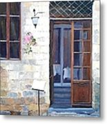 A Cafe In San Gimignano Tuscany Metal Print