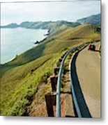 A Car Descends Conzelman Road Metal Print
