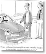 A Car Salesman Gives A Pitch To A Prospective Metal Print
