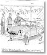 A Car Salesman Shows A Couple A Car Monster Metal Print