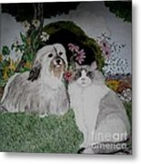 A Cat And A Dog Metal Print