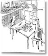 A Cat And Dog Play Scrabble In A Kitchen. 'grrr' Metal Print