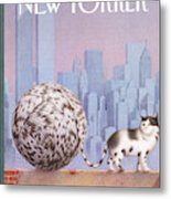 A Cat With A Ball Of String For A Tail Metal Print