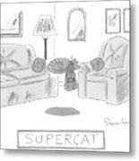 A Cat With A Cape Is Seen Sleeping And Levitating Metal Print