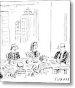 A Ceo Talks To His Board During A Board Meeting Metal Print