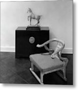 A Chair, Bedside Cabinet And Sculpture Of A Horse Metal Print