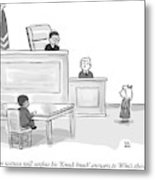 A Child Judge Says To A Child Witness In A Court Metal Print