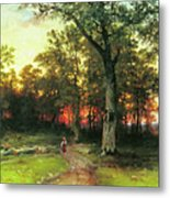 A Child Walks In A Forest Metal Print