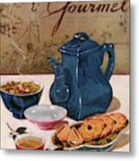 A Chinese Tea Pot With Tea And Cookies Metal Print