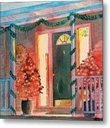 A Christmas At Home, House Prints, Porch Prints, House Paintings, House Prints, Christmas Paintings, Metal Print