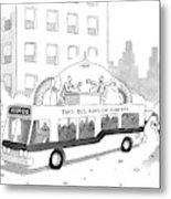A City Bus Is Seen With A Rooftop Bubble Metal Print