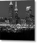 A Cleveland Black And White Night Metal Print