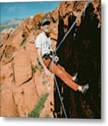 A Climber On Panty Wall In Red Rock Metal Print
