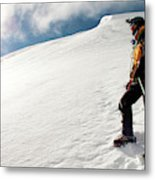 A Climber On The Glacier Of Cotopaxi Metal Print