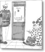 A Clown Is Seen Walking Into A Door Which Says Metal Print