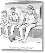 A Coach In A Baseball Dugout Speaks On The Phone Metal Print