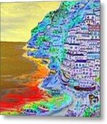 A Coastal View Of Positano Metal Print