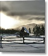 A Cold Retired Barn Metal Print by Rebecca Adams