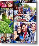 A Collage Of The Fresh Market In Kusadasi Turkey Metal Print