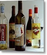 A Collection Of Wine Bottles Metal Print