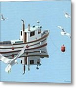 A Contemplation Of Seagulls Metal Print