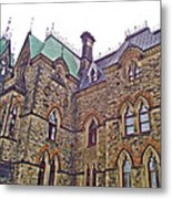 A Corner Of Parliament Building In Ottawa-on Metal Print