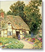 A Cottage By A Duck Pond Metal Print