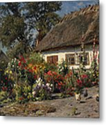 A Cottage Garden With Chickens Metal Print