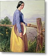 A Country Girl Standing By A Fence Metal Print