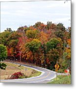 A Country Road In Autumn Metal Print