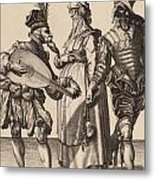 A Couple Addressed By A Lute Player Metal Print
