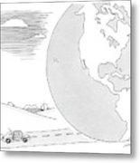 A Couple Drives Towards A Giant Earth Metal Print
