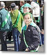 A Couple Girls Enjoying Themselves In The 2009 New York St. Patrick Day Parade Metal Print