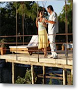 A Couple Having Drinks On A Deck Metal Print