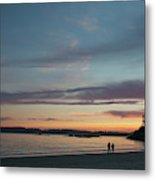 A Couple Walk Along The Shore Metal Print