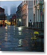 A Courtyard At Dusk With A Card Table Metal Print