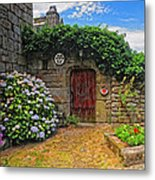 A Courtyard In Brittany France Metal Print