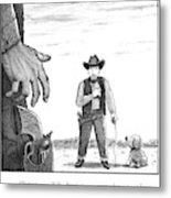 A Cowboy With A Dog Speaks To His Opponent Metal Print