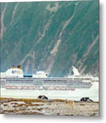 A Cruise Ship Passes By A Wolf Roaming Metal Print