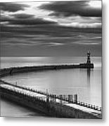 A Curving Pier With A Lighthouse At The Metal Print