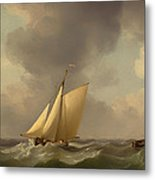 A Cutter In A Strong Breeze Metal Print