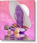 A Day At The Beach Still Life Metal Print