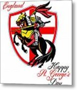 A Day For England Happy St George Day Retro Poster Metal Print