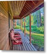 A Deck By The Methow River At Cottonwood Cottage Metal Print