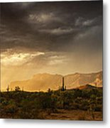 A Desert Monsoon Sunset  Metal Print